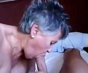 Grandma blowjob hj and cum in mouth