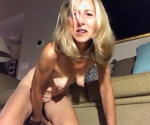 Mature, Grannie, Dildo, Hairy, Saggy tits, nipples, pussy, Blonde.