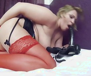 ash-blonde chubby mature with her dildo and pissing action